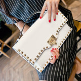Rivets envelope clutch bag ladies clutch shoulder bag for women's Crossbody Bags chain bag women Handbags Pink Black and White - On Trends Avenue