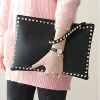 Rivet envelope bag fashion star style Ladies clutch purses Women's handbag Clutches evening bags Black and red bolsa feminina - On Trends Avenue