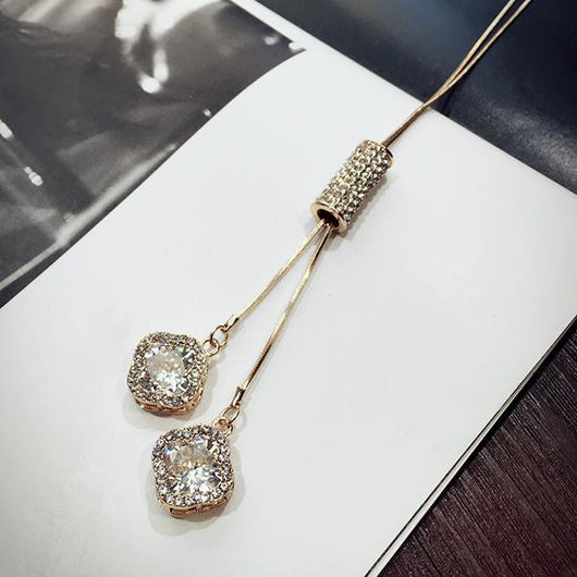 Women Pendant Necklaces Crystal Necklace Female Temperament All-match Long Paragraph Sweater Chain Pendant - On Trends Avenue