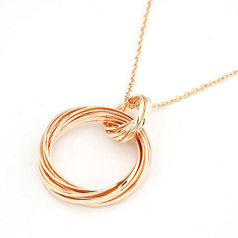 Long Necklace for Women Double Circles Gold Plated Alloy Maxi Necklaces & Pendants Statement Joyeria Accessories - On Trends Avenue