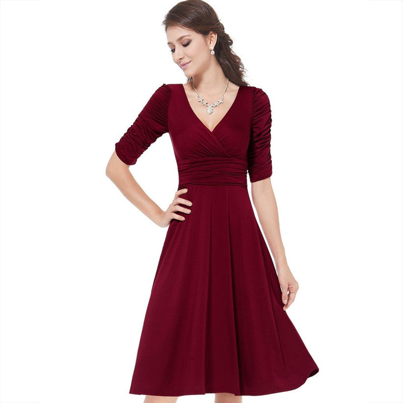 Available in Large Sizes V Neck Sexy Office Dress Plus Size elegant dress womens dresses new arrival A Line Casual Dress For Women J0014 - On Trends Avenue