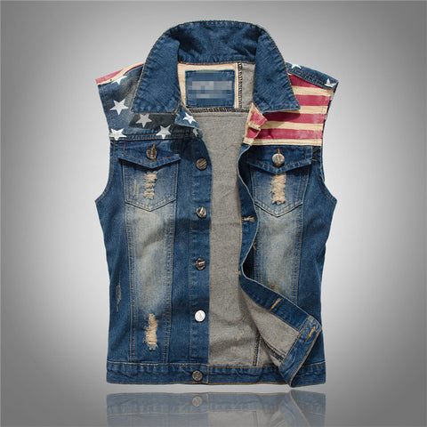 M-5XL Ripped Jeans Vest Men America Flag Blue Jeans Waistcoat Sleeveless Jeans Jacket - On Trends Avenue