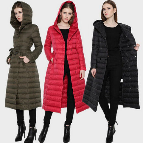 European Women Ultra Light Duck Down Jacket Extra Long Winter Puffer Coat with Hood Double-Breasted Slim Belted Parka Outerwear - On Trends Avenue