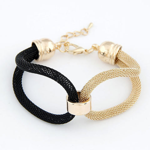 3 Color New Brand Fashion Design Charms Weave Hollow Cross Rope Punk Metal Hemp Weave Bracelet & Bangle Women Jewelry D208 - On Trends Avenue