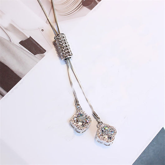 Lemon Value New Brand Fashion Luxury Ziron Rhinestone Flower Pendants Vintage Crystal Glass Long Necklaces Women Jewelry A082 - On Trends Avenue