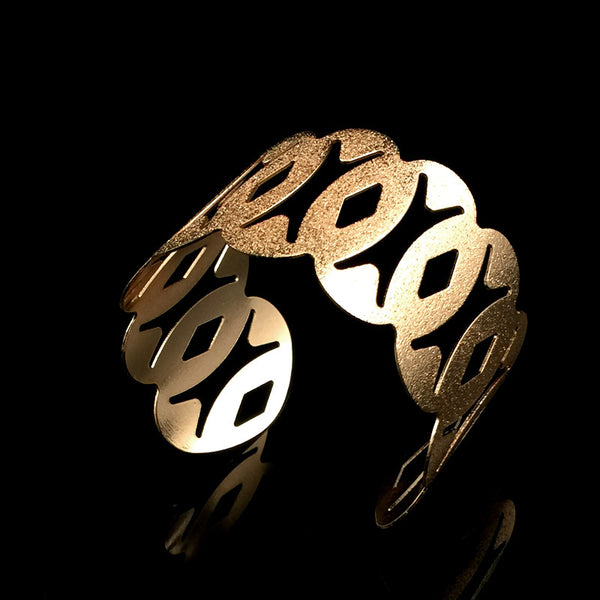 Fashion Exaggeration Gold Pated Geometric Hollow Leaves Bangles Upper Arm Bracelet Jewerlry For Women - On Trends Avenue
