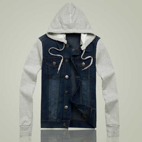 Men's Denim Jacket Mens Hooded Jacket  Winter Coat Long Sleeved Shirt Slim Jeans - On Trends Avenue
