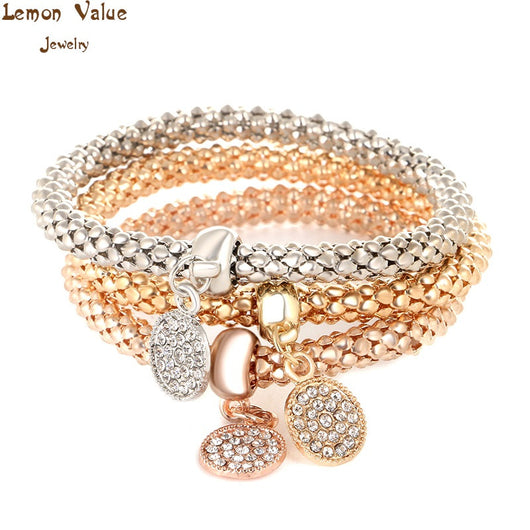 Lemon Value Female Punk Multilayer Elastic Gold Bangle Vintage Charms Crystal Circular Bracelet Women Jewelry Accessories D015 - On Trends Avenue