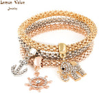 Lemon Value Fashion Female Punk Multilayer Elastic Gold Bangle Vintage Charms Crystal Elephant Bracelet Women Jewelry Gift D015 - On Trends Avenue