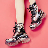 new women Floral Martin rain boots female fashionable short boots slip non-slip comfortable with large size water shoes - On Trends Avenue