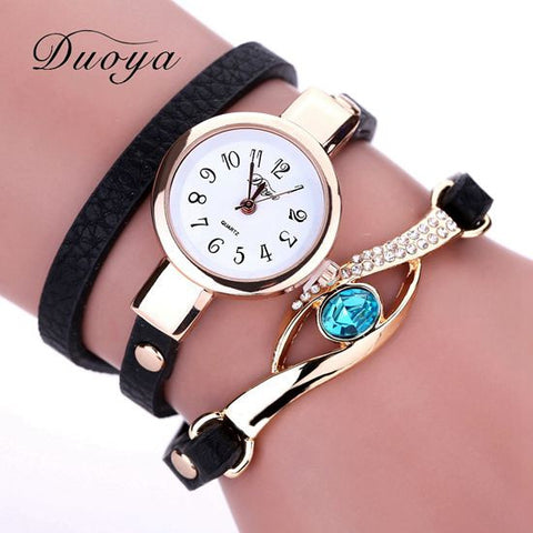 Duoya New Brand Eye Gemstone Luxury Watches Women Gold Bracelet Watch Dress Female PU Leather Electronic Quartz Wristwatches - On Trends Avenue
