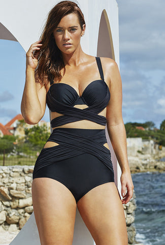 Black Wrap Underwire High Waist DD Cup  Plus Size Bikini - On Trends Avenue