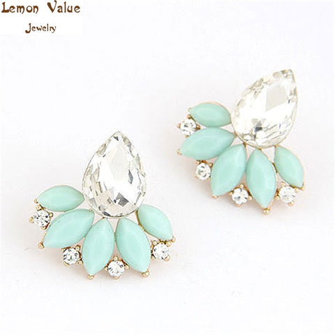 Lemon Value Statement Bijoux Fashion Charms Rhinestone Earrings Candy Color Crystal Gem Stud Earrings Women Jewelry Brincos B373 - On Trends Avenue