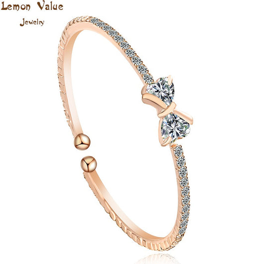 Lemon Value New Charms With AAA Zircon Bowknot Bangles Fashion Luxury Rhinestone Crystal Bracelets Women Jewelry Pulseras D038 - On Trends Avenue