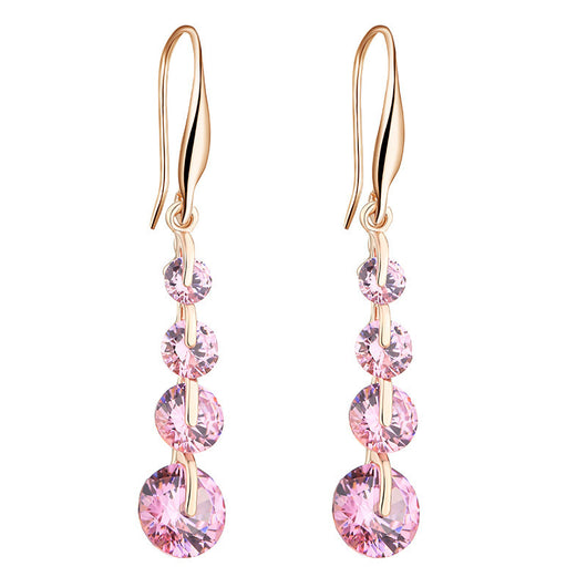 Lemon Value Fashion Luxury 18K Gold Earrings Romantic Water Drop Shape Color Crystal Zircon Dangle Earrings Women Jewelry P026 - On Trends Avenue