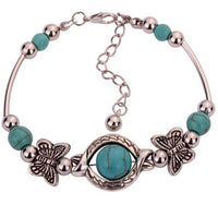 New Bohemia Fashion Charms Turquoise Beads Gem Bracelet Vintage Silver Butterfly Bracelets Women Fine Jewelry Pulseras D096 - On Trends Avenue