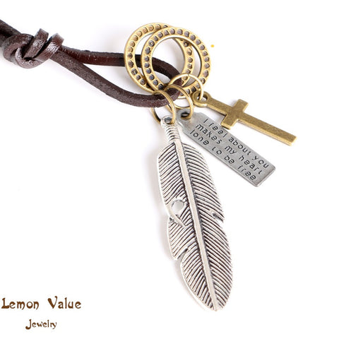 Lemon Value Antique Bohemia Vintage Charms Cross Leaf Pendant Mens Leather Punk Long Necklace Women Jewelry Collier A046 - On Trends Avenue