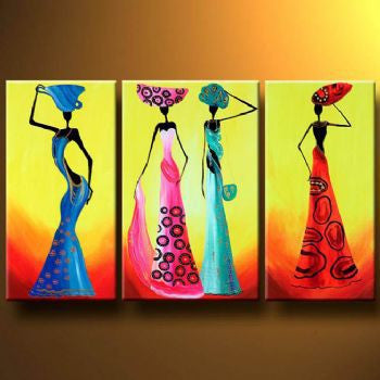 3 piece Hand Painted Fashionable Africans-Modern Canvas Art Wall Decor-Abstract Oil Painting Wall Pictures for Living Rooms - On Trends Avenue