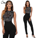 Fashion Fix Rhinestone Mesh Black Sheer Rompers Womens Jumpsuit bodycon Sleeveless One Piece Sexy combinaison femme QL2487 - On Trends Avenue