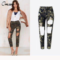 Casual Fashion Camouflage Women Pants Boyfriend Style Jeans Holes Vintage Ankle Length Straight Female Pants Bottom QL2590 - On Trends Avenue