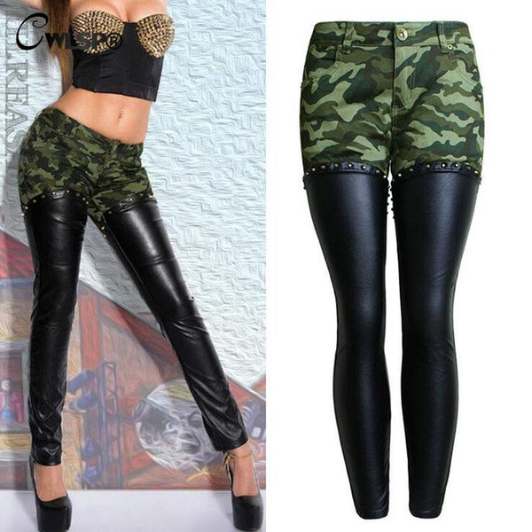 Camouflage leather Patchwork Pencil Pants Women Back Zipper Boyfriend Style Cool Jeans Female Trousers Bottom - On Trends Avenue