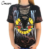 New GUN N ROSES Print T Shirt Women American Rock Music Festival Tops Hollow Out V Neck Tees lace up kawaii t-shirt QL2637 - On Trends Avenue