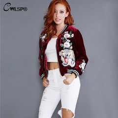 Women Bomber Jacket Coats Winter Super Velour Stand Collar Embroidery Roses Tiger Outwear Jacket chaquetas mujer QL2743 - On Trends Avenue