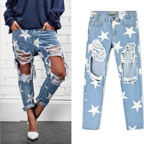 Women Print Five-pointed Star Vintage boyfriend Holes Ripped Jeans Denim Blue White Trousers Female Denim Lady Pants QL2236 - On Trends Avenue