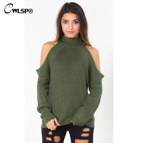 Autumn Winter Warm Sweater Fashion Off Shoulder Pullovers Half Turtleneck Knitted Women Sweater 6 Colors QL2548 - On Trends Avenue