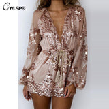 Gold Sequin Embroidery Jumpsuit Boho mesh Sleeve Deep V neck Flower Sashes Rompers - On Trends Avenue
