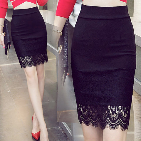 S-5XL Plus Size Black Pencil Skirt Lace Bodycon Skirts Womens Summer Tight Sexy Mini Skirt - On Trends Avenue
