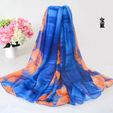 200*150cm Ladies Long Silk Chiffon Scarf Flower Infinity scarf - On Trends Avenue