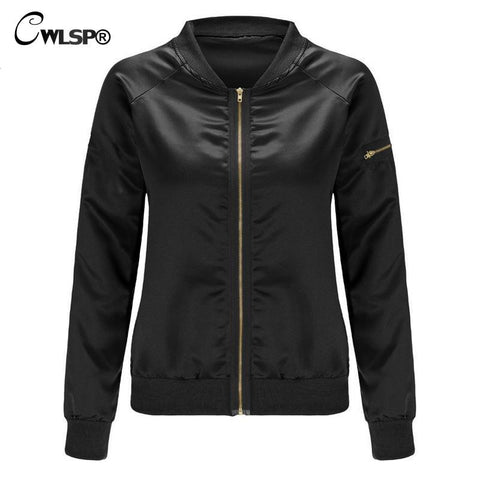 Satin Gold Women Jacket Bomber Coats Long Zipper Decoration Sleeve Stand Collar baseball Outwear veste abrigos mujer QL2720 - On Trends Avenue