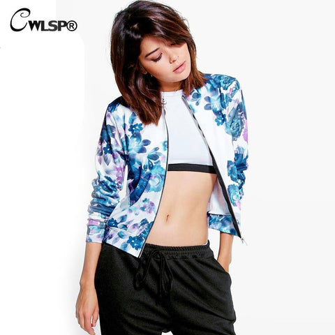 New Fashion Jacket Coat Women Floral Print Pink Bomber Women Long Sleeve Outwear 3 Colors jaqueta feminina QL2717 - On Trends Avenue