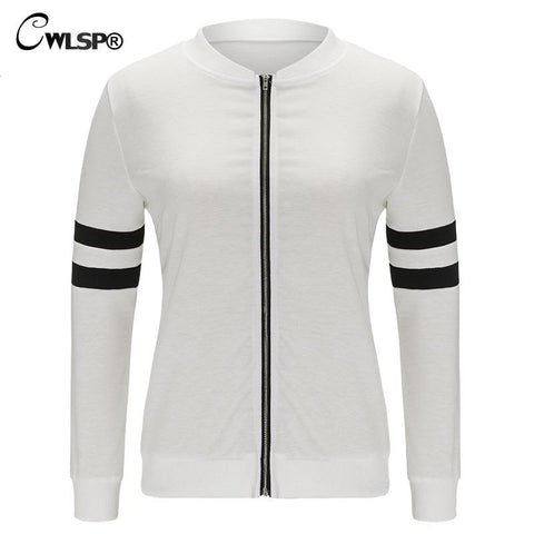 White& Black Women Bomber Jacket Coat Sprip Spliced Zipper Female Basic Coats Tops casaco veste jaqueta feminina QL2718 - On Trends Avenue