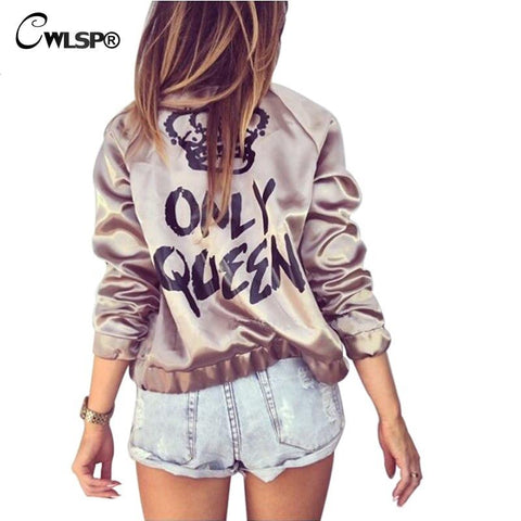 Fashion Women Basic Coats Satin Silk Champagne Gold Bomber Jacket Back ONLY QUEEN Crown Letter Print outerwear - On Trends Avenue