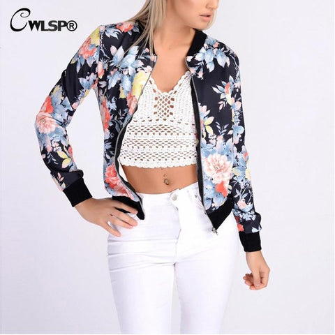 Fashion Design  New Spring Autumn Bomber Jacket Women Floral Print Camouflage Women Basic Coat Tops chaquetas mujer QL2679 - On Trends Avenue