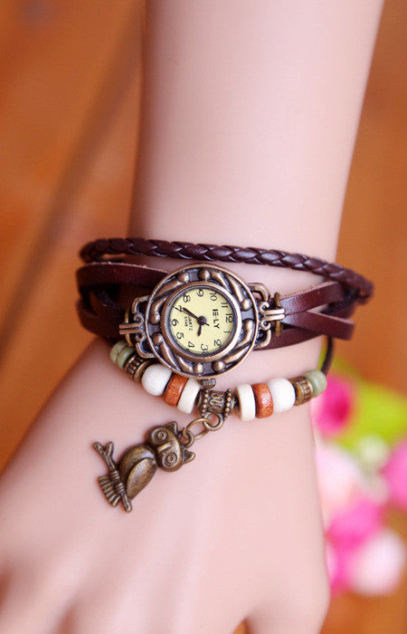 High Quality Fashion Owl Pendant Cow Leather watch women ladies dress quartz wrist watch Relogios Feminino kow002 - On Trends Avenue