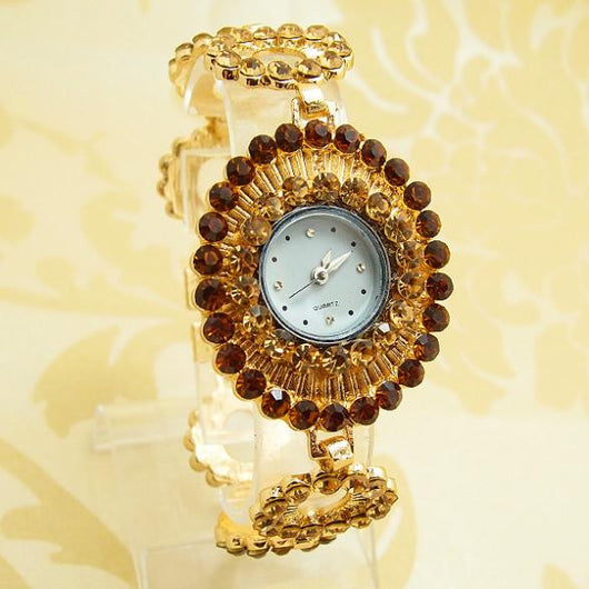 Gold Plated Bracelet Watch Women Ladies Crystal Dress Quartz Wristwatches High Quality PB-7 - On Trends Avenue