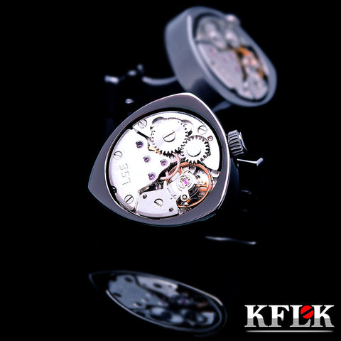 KFLK jewelry shirts cufflinks for mens Brand Black watch movement mechanical cuff links Buttons Male High Quality - On Trends Avenue