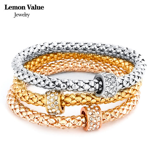 New Punk Gold Chain Multilayer Bangles Vintage Charms Elastic Force Crystal Rhinestone Bracelet Women Jewelry Pulseras E012 - On Trends Avenue