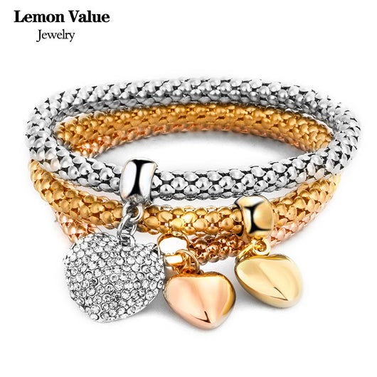 New Punk Gold Chain Multilayer Bangles Vintage Charms Elastic Force Crystal Heart Pendant Bracelet Women Fine Jewelry Gift E011 - On Trends Avenue