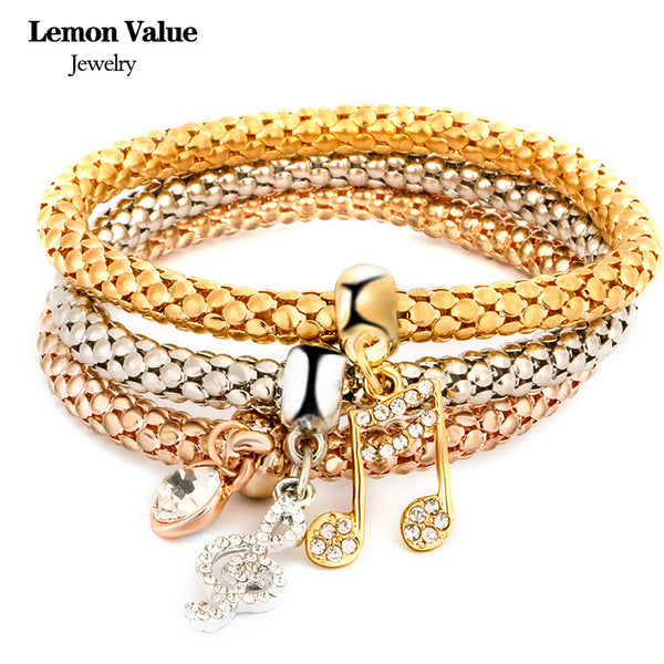 New Punk Gold Chain Multilayer Music Notation Bangles Vintage Charms Elastic Force Crystal Bracelet Women Jewelry Pulseras E006 - On Trends Avenue