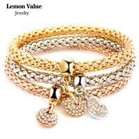 New Punk Gold Chain Multilayer Bangles Vintage Charms Elastic Force Crystal Water Drop Pendant Bracelet Women Fine Jewelry E009 - On Trends Avenue