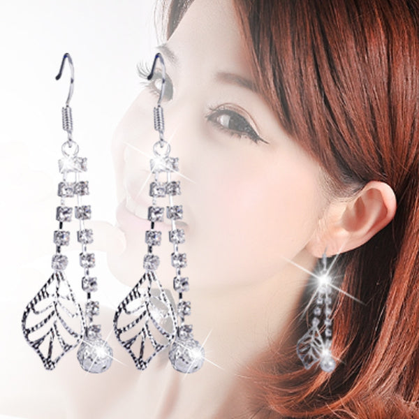 New Brand Luxury Crystal Cubic Zircon Diamond Tassels Leaf Drop Pearl Dangle Earrings Fashion Women Wedding Jewelry B074 - On Trends Avenue