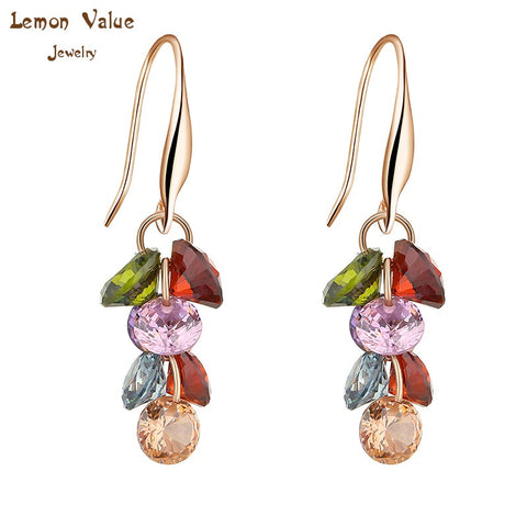 Lemon Value New Luxury Bijoux Jewelry Women Crystal Drop Earrings Fashion Romantic Zircon Gold Dangle Earrings Brincos Gift P015 - On Trends Avenue