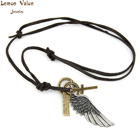 Lemon Value Antique Vintage Charms Angel Wing Cross Pendant Leather Punk Long Necklace Women Jewelry A103 - On Trends Avenue