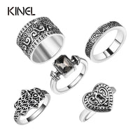 5 PCS Punk Vintage Ring Sets Antique Alloy Gray Stone Midi Finger Rings For Women Turkish Ring Anillos Dropship - On Trends Avenue