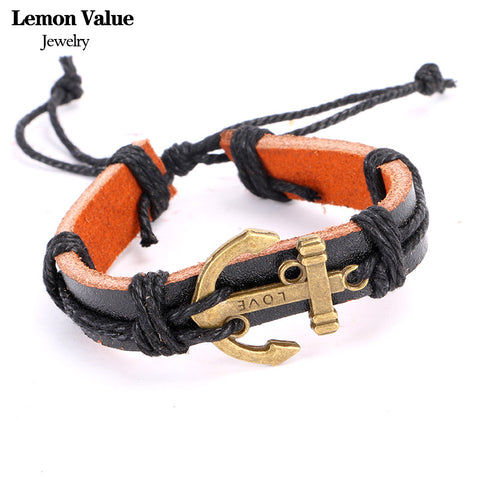Retro Mens Anchor Bracelets Vintage Leather Rope Hand Woven Punk Owl Bracelet Rope Braided Cross Bracelet Female Jewelry H008 - On Trends Avenue