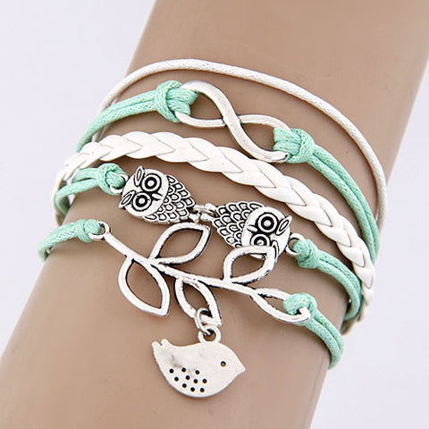 New Vintage Braided Fashion Charms Temperament Owl Bird leaves Hand woven Infinite Leather Bracelet Women Fine Jewelry D125 - On Trends Avenue